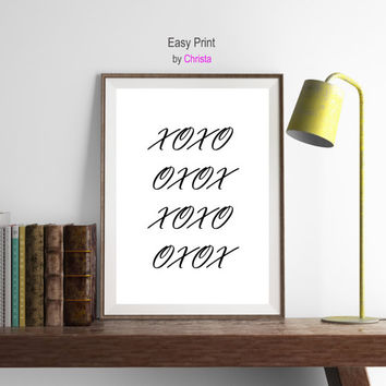 XOXO Print Hugs and kisses printable art Hugs quotes Modern wall decor Minimal art Typography print Black and white Instant download