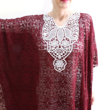 Lace Tunic Long Blouse, Beach cover up, Plus Size tunic, Kimono robe sheer cardigan jacket dress kaftan, Swimsuit beach dress, Batik dress