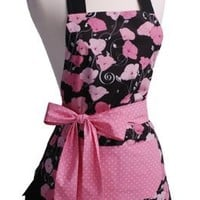 Flirty Aprons Women's Original Apron, Aqua Damask