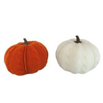2ct Harvest Cable Knit Pumpkins (Orange and White) - Hyde and Eek! Boutique™