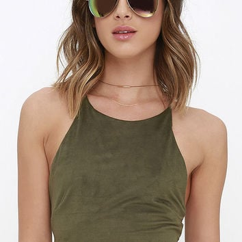 Slick Chick Olive Green Suede Crop Top