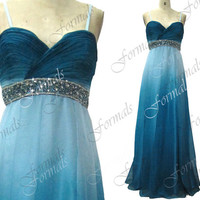 Spaghetti Straps with Beaded Long Chiffon Blue Prom Dresses, Homecoming Dresses, Evening Gown