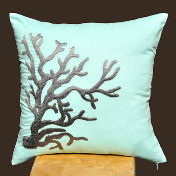 Nautical  Coral Throw Pillow Cover  18 x 18 Decorative by KainKain