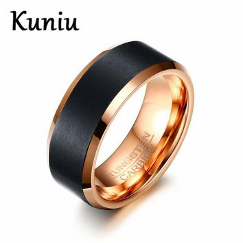 KUNIU Fashion 8mm Black&Rose Gold color Tungsten Carbide Rings Wedding Engagement Jewelry Mens Ring