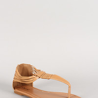 Qupid Leatherette Strappy T-Strap Thong Flat Sandal