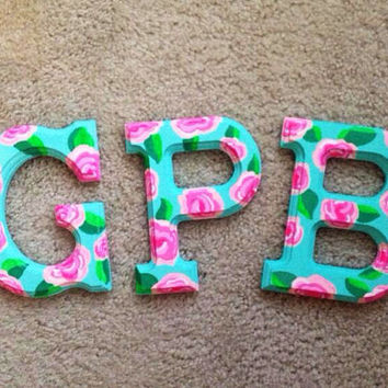 Lilly Pulitzer Painted Wooden Letters by SweetHeartShoes on Etsy