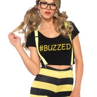 Women Buzzed Bee Fancy Dress and Halloween Costume With High Waisted Leggings