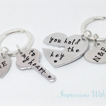 Hand stamped you hold the key to my heart keyring set personalised with initials