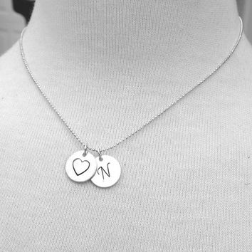 Letter N Initial Necklace, Initial Heart Necklace, Sterling Silver Letter N Necklace, Large Monogram Necklace, Charm Necklace