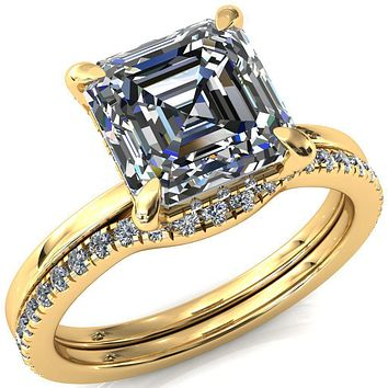 Rosy Asscher Moissanite 4 Claw Prong Single Rail 3/4 Micropave Engagement Ring