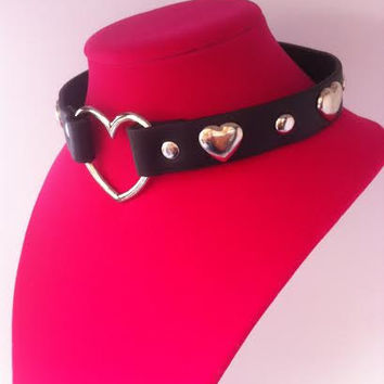 Genuine Leather Silver Studded Heart Choker Necklace