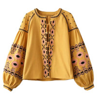 Yellow Folk Embroidered Tie Front Boho Coat