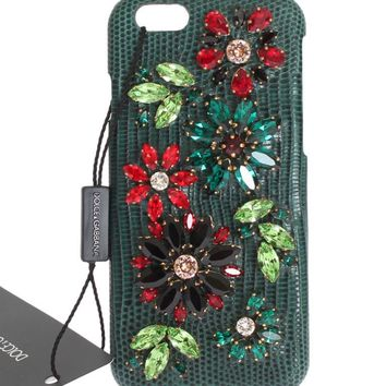 Dolce & Gabbana Green Leather Crystal Flower Phone Case
