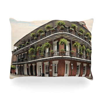 "Sylvia Cook ""New Orleans Street Corner"" Green Brown Oblong Pillow"
