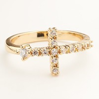 Gold Tone Simulated Crystal Sideways Cross Ring