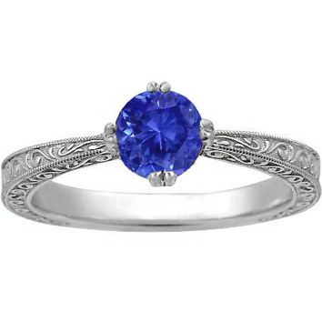 Sapphire True Heart Ring in 18K White Gold