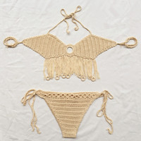 2016 New Woman Unique Swimsuit Limited Handmade Knitting Crochet 2 Pieces Bikini Swimwear Gift-34