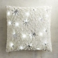 LED Light-Up Fuzzy Snowflakes Pillow