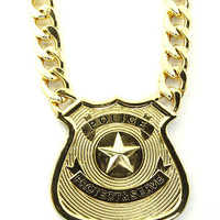 NECKLACE / POLICE / BADGE / PROTECT & SERVE / METAL CHAIN / LINK / CHUNKY / 14 INCH LONG / 4 INCH DROP / NICKEL AND LEAD COMPLIANT