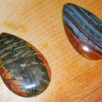 Picasso Jasper Teardrop Pendant Beads, drilled, polished, DIY jewelry supply, pendant stones, multiple colors in each, you choose, focals