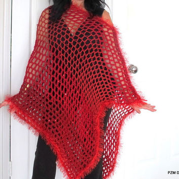 Red crochet summer poncho, sequined sparkly long poncho, large