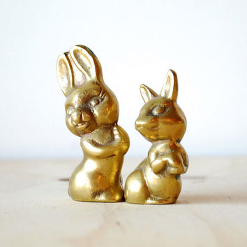 Vintage Brass Rabbit Pair of Figurines Brass Statues Paperweights Mid Century Modern Charm