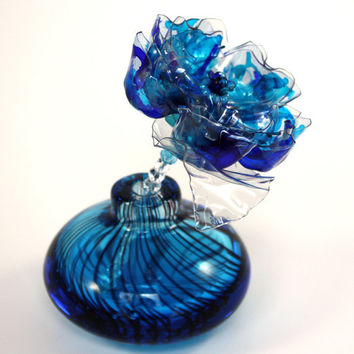 Turquoise and Cobalt Blue Murano Flower and Vase, Single Stem, Chihuly inspired, Perfume Bottle, Recycled Art Plastic