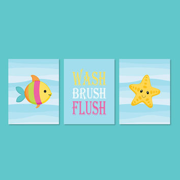 Sea Animals Bathroom, Kids Bathroom WALL ART, Wash Brush Flush, Bathroom Rules, Fish Starfish Set of 3 Prints Or Canvas Girl Boy Bathroom