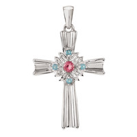 Sterling Silver Pink Tourmaline & Swiss Blue Topaz Cross Pendant