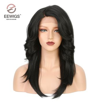 Short Yaki Hair Lace Front Wig Synthetic Black Natural Artificial Wigs Glueless L Part Synthetic Lace Front Wig Medium 1b Color