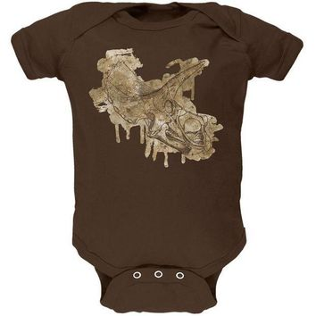 CREYCY8 Dinosaur Fossil Triceratops Skull Soft Baby One Piece