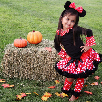 DELUXE Minnie Mouse halloween costume - girls size 1-6 years outfit set ears petti skirt Disney character  baby, toddler 6 month-6 years