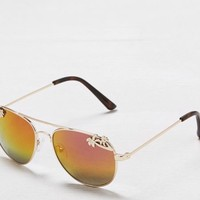 AEO Women's Palm Tree Aviator Sunglasses (Gold)