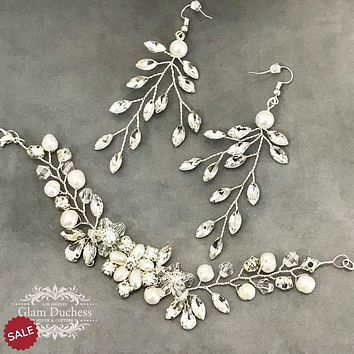 Bridal Leaf Chandelier Earrings Bracelet Jewelry Set