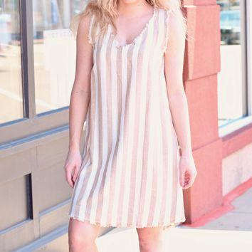 Mocha Vertically Striped Frayed Edge Sleeveless Dress