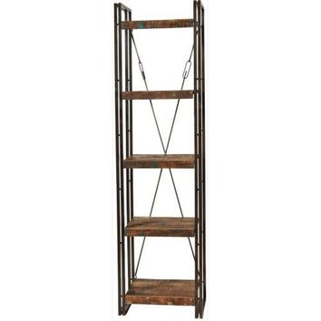 Abran Industrial Reclaimed Wood & Metal Book Shelf/Wall Unit Small