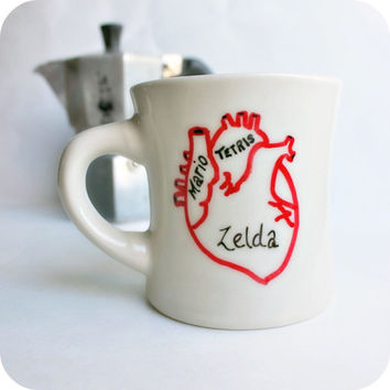 Gamer Geek Funny Mug coffee tea cup diner mug red by KnotworkShop