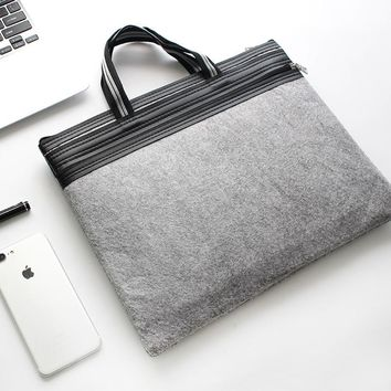 Minimalist A4 Carrying Bag Zipper Bag Felt File Bag Double Layer Female / Men Office File Bag Folder