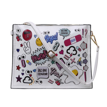 Graffiti Print Envelope Clutch With Strap