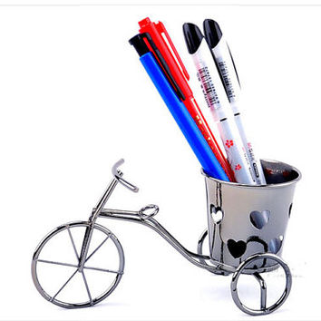 Mini bicycle Pen holder Creative Decoration Ornament Pen container Brush Pot Metal style Pencil vase for home decor Amazing Christmas gift