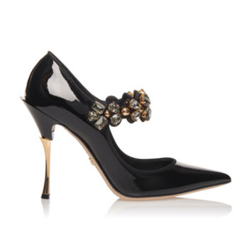 Crystal-Embellished Patent-Leather Pumps | Moda Operandi
