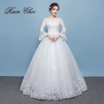 vestido de novia 2018 Bridal Gowns Ball Gown Lace Up Back Sleeves Wedding Dresses