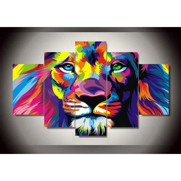 Unframed 5 Panels Modern Animal Lion king Oil painting on canvas wall decoration Home wall art picture Print on canvas F/762