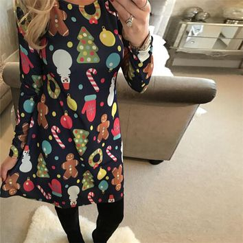 5XL Plus Size Women Long Sleeve Loose Dresses New Casual Christmas Dress Tree Snowman Printing Mini Dress For New Year