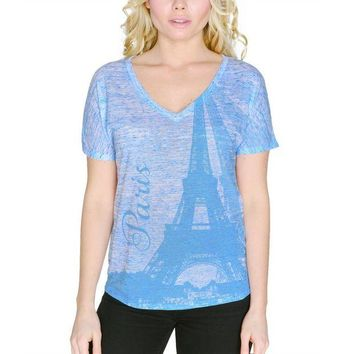 DCCKIS3 Paris Eiffel Tower Vacation France Women's Slouchy V-Neck T Shirt