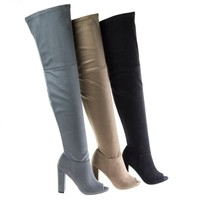 Morris58 By Wild Diva, Peep Toe Over Knee Thigh High Suede Boots On Chunky Block Heel