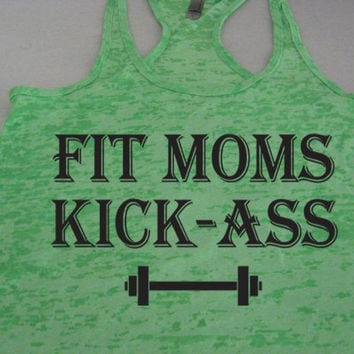 Fit Moms Kick Ass. Mothers Day Gift. Womens Fitness Tank Top. Gym Rat. Crossfit. Weight Lifting. Workout Tank. by WorkItWear