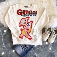 GUCCI Women Round Neck Top Sweater Pullover Sweatshirt