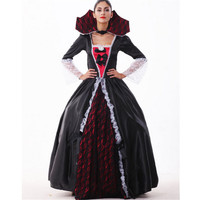2016 New high quality Black queen dress Halloween Costumes for Women Sexy vampire Witch Cosplay Carnival Party Princess Costume