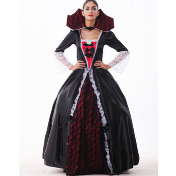 2016 new high quality black queen dress halloween costumes for w